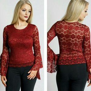 Red Lace Floral Top